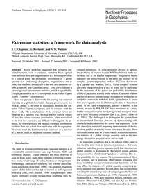 Extremum Statistics: a Framework for Dat... by Chapman, S. C.