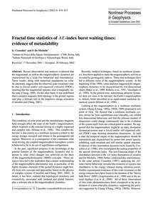 Fractal Time Statistics of Ae-index Burs... by Consolini, G.