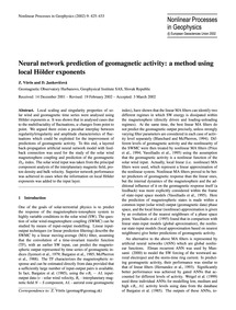 Neural Network Prediction of Geomagnetic... by Vörös, Z.