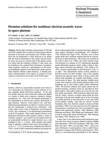 Dromion Solutions for Nonlinear Electron... by Ghosh, S. S.