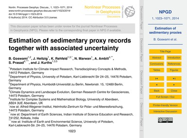 Estimation of Sedimentary Proxy Records ... by Goswami, B.