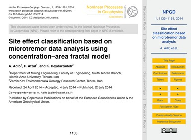 Site Effect Classification Based on Micr... by Adib, A.