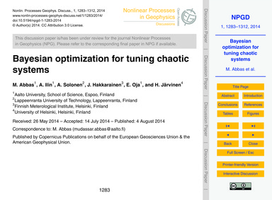 Bayesian Optimization for Tuning Chaotic... by Abbas, M.