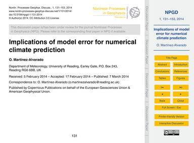 Implications of Model Error for Numerica... by Martínez-alvarado, O.