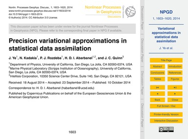 Precision Variational Approximations in ... by Ye, J.