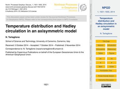 Temperature Distribution and Hadley Circ... by Tartaglione, N.