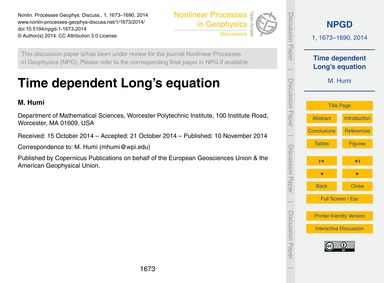 Time Dependent Long's Equation : Volume ... by Humi, M.