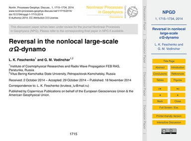 Reversal in the Nonlocal Large-scale Αω-... by Feschenko, L. K.
