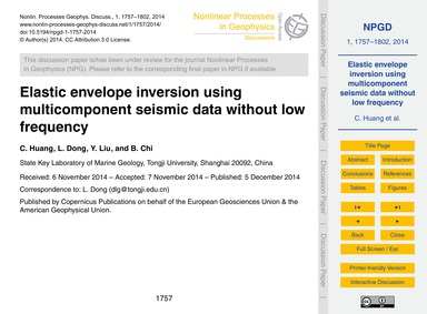 Elastic Envelope Inversion Using Multico... by Huang, C.