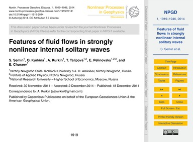 Features of Fluid Flows in Strongly Nonl... by Semin, S.