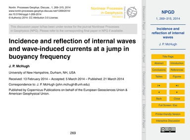 Incidence and Reflection of Internal Wav... by McHugh, J. P.
