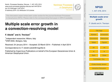 Multiple Scale Error Growth in a Convect... by Uboldi, F.