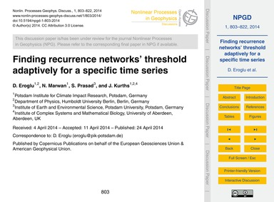 Finding Recurrence Networks' Threshold A... by Eroglu, D.