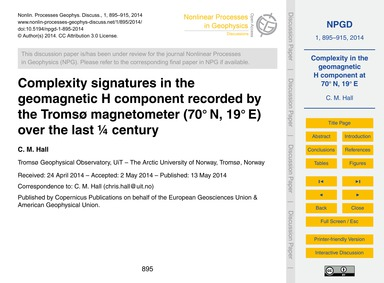 Complexity Signatures in the Geomagnetic... by Hall, C. M.