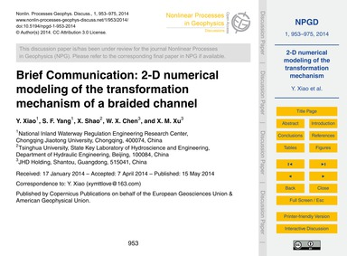 Brief Communication: 2-d Numerical Model... by Xiao, Y.