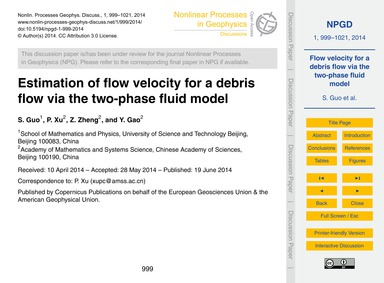 Estimation of Flow Velocity for a Debris... by Guo, S.