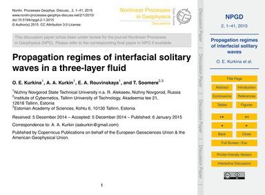 Propagation Regimes of Interfacial Solit... by Kurkina, O. E.