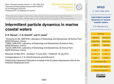 Intermittent Particle Dynamics in Marine... by Renosh, P. R.