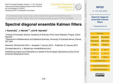 Spectral Diagonal Ensemble Kalman Filter... by Kasanický, I.