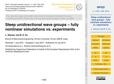 Steep Unidirectional Wave Groups – Fully... by Shemer, L.