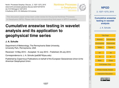 Cumulative Areawise Testing in Wavelet A... by Schulte, J. A.