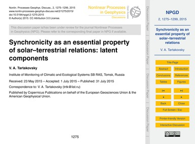 Synchronicity as an Essential Property o... by A. Tartakovsky, V.