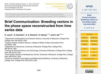 Brief Communication: Breeding Vectors in... by Lynch, E.