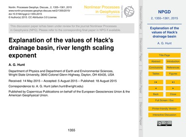 Explanation of the Values of Hack's Drai... by Hunt, A. G.