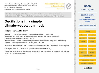 Oscillations in a Simple Climate–vegetat... by Rombouts, J.