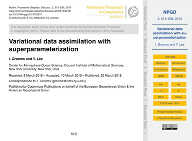 Variational Data Assimilation with Super... by Grooms, I.