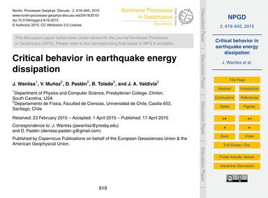 Critical Behavior in Earthquake Energy D... by Wanliss, J.