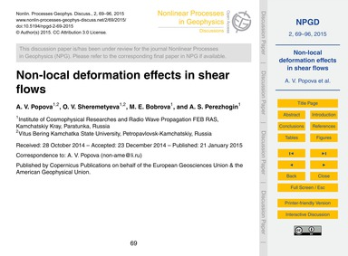Non-local Deformation Effects in Shear F... by Popova, A. V.