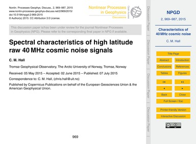 Spectral Characteristics of High Latitud... by Hall, C. M.
