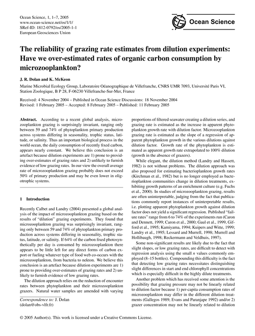 The Reliability of Grazing Rate Estimate... by Dolan,, J. R.