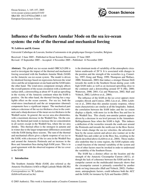 Influence of the Southern Annular Mode o... by Lefebvre, W.