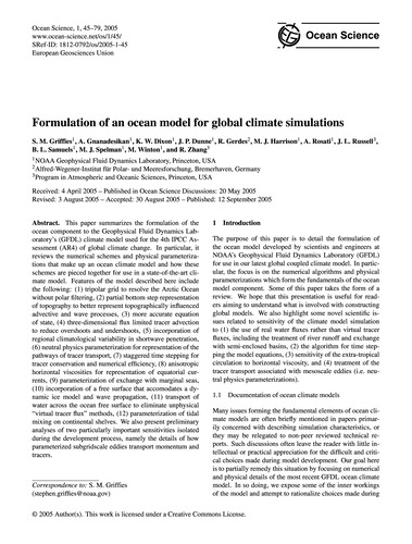 Formulation of an Ocean Model for Global... by Griffies, S. M.