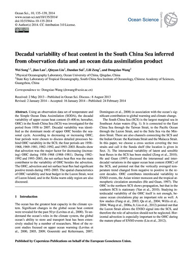 Decadal Variability of Heat Content in t... by Song, Wei