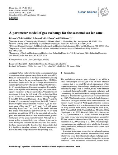 A Parameter Model of Gas Exchange for th... by Loose, B.