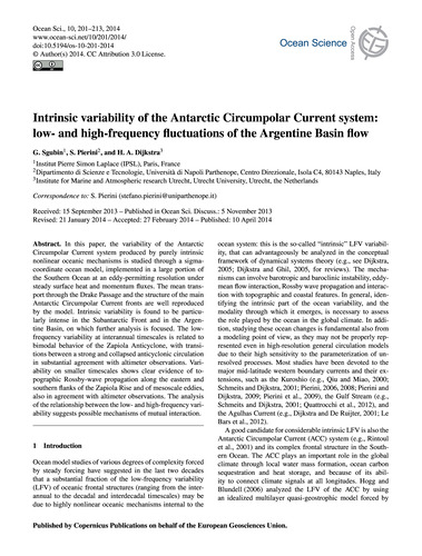 Intrinsic Variability of the Antarctic C... by Sgubin, G.