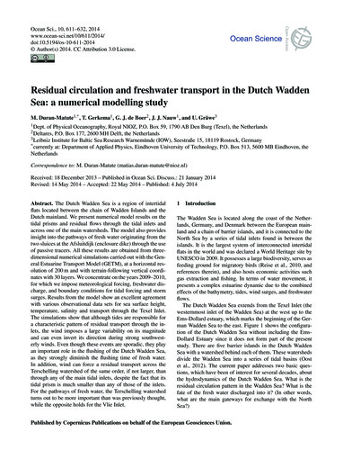Residual Circulation and Freshwater Tran... by Duran-matute, M.