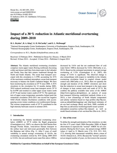 Impact of a 30% Reduction in Atlantic Me... by Bryden, H. L.
