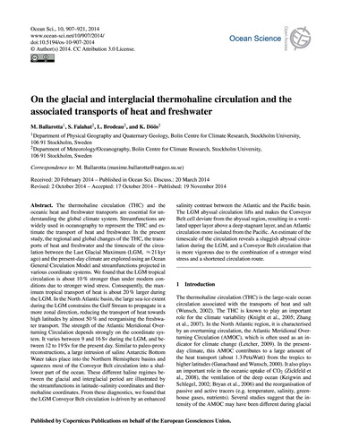 On the Glacial and Interglacial Thermoha... by Ballarotta, M.