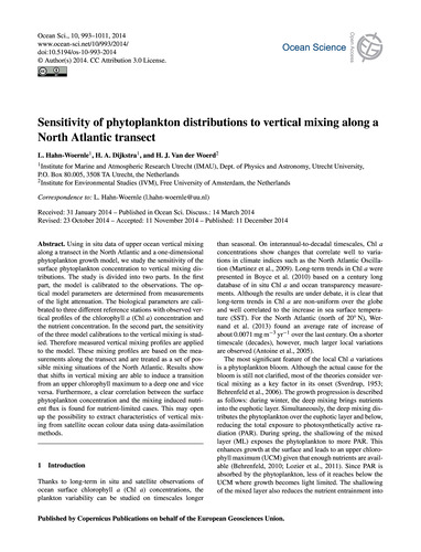 Sensitivity of Phytoplankton Distributio... by Hahn-woernle, L.