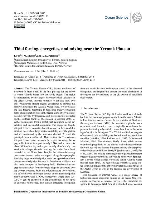 Tidal Forcing, Energetics, and Mixing Ne... by Fer, I.