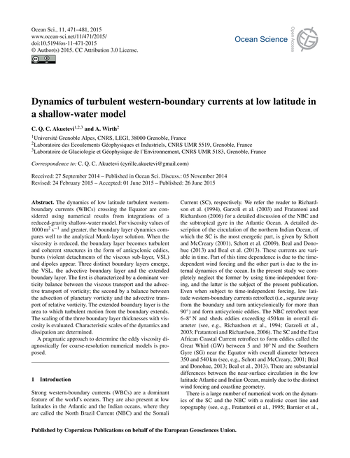 Dynamics of Turbulent Western-boundary C... by Akuetevi, C. Q. C.