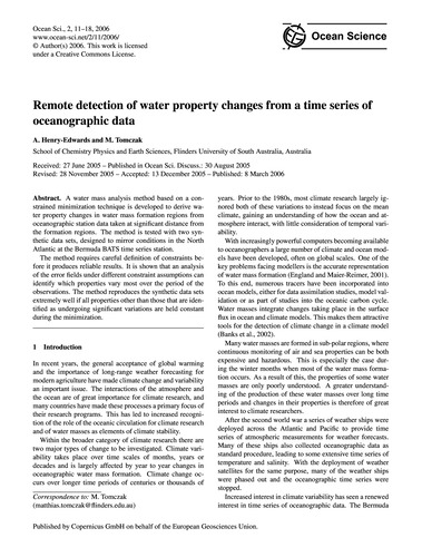 Remote Detection of Water Property Chang... by Henry-edwards, A.