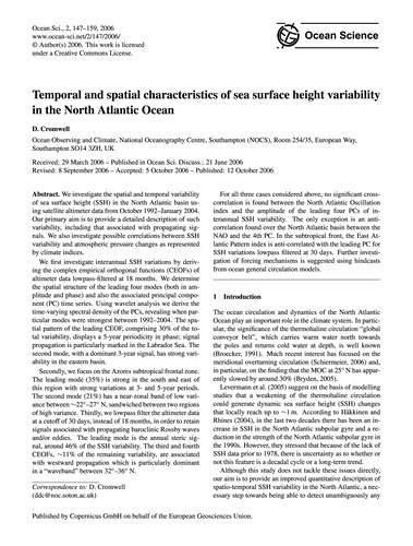 Temporal and Spatial Characteristics of ... by Cromwell, D.