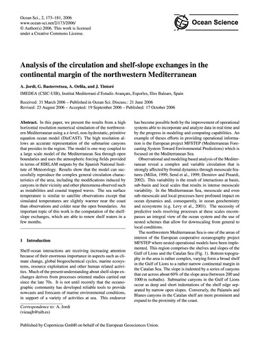 Analysis of the Circulation and Shelf-sl... by Jordi, A.