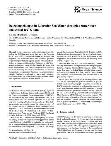 Detecting Changes in Labrador Sea Water ... by Henry-edwards, A.