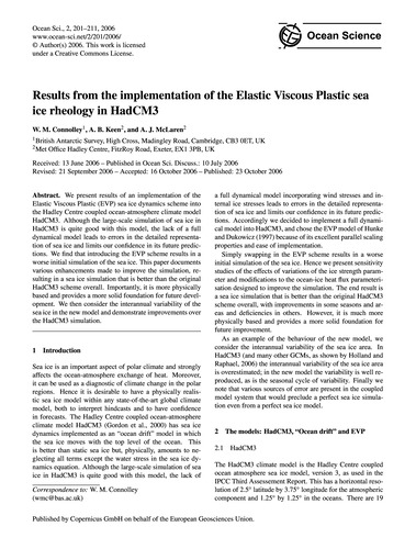Results from the Implementation of the E... by Connolley, W. M.